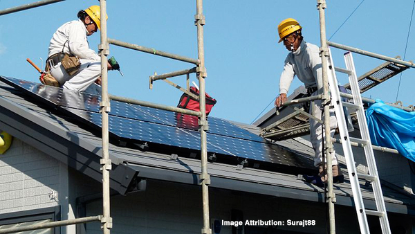 A rooftop solar installation.